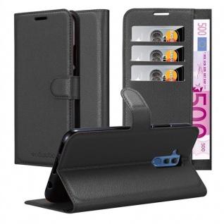 Cadorabo Hülle für Huawei MATE 20 LITE in PHANTOM SCHWARZ - Handyhülle mit Magnetverschluss, Standfunktion und Kartenfach - Case Cover Schutzhülle Etui Tasche Book Klapp Style