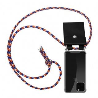 Cadorabo Handy Kette für Apple iPhone 11 PRO (XI PRO) in ORANGE BLAU WEISS - Silikon Necklace Umhänge Hülle mit Silber Ringen, Kordel Band Schnur und abnehmbarem Etui - Schutzhülle