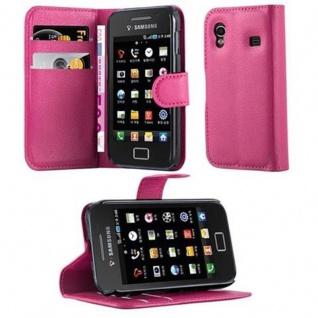 Cadorabo Hülle für Samsung Galaxy ACE 1 in CHERRY PINK - Handyhülle mit Magnetverschluss, Standfunktion und Kartenfach - Case Cover Schutzhülle Etui Tasche Book Klapp Style