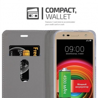 Cadorabo Hülle für LG X POWER 2 in HELL GRAU BRAUN - Handyhülle mit Magnetverschluss, Standfunktion und Kartenfach - Case Cover Schutzhülle Etui Tasche Book Klapp Style - Vorschau 5