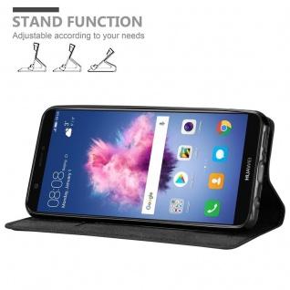 Cadorabo Hülle für Huawei P SMART 2018 / Enjoy 7S in NACHT SCHWARZ - Handyhülle mit Magnetverschluss, Standfunktion und Kartenfach - Case Cover Schutzhülle Etui Tasche Book Klapp Style - Vorschau 4