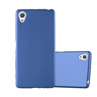 Cadorabo Hülle für Sony Xperia X - Hülle in METALLIC BLAU ? Handyhülle aus TPU Silikon im Matt Metallic Design - Ultra Slim Soft Backcover Case Bumper