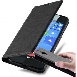 Cadorabo Hülle für Nokia Lumia 650 in NACHT SCHWARZ Handyhülle mit Magnetverschluss, Standfunktion und Kartenfach Case Cover Schutzhülle Etui Tasche Book Klapp Style