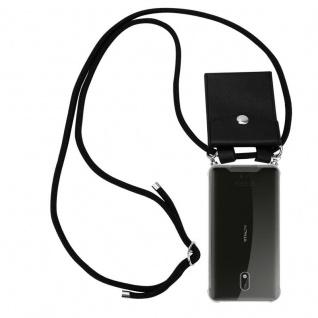 Cadorabo Handy Kette für Nokia 3 2017 in SCHWARZ Silikon Necklace Umhänge Hülle mit Silber Ringen, Kordel Band Schnur und abnehmbarem Etui Schutzhülle