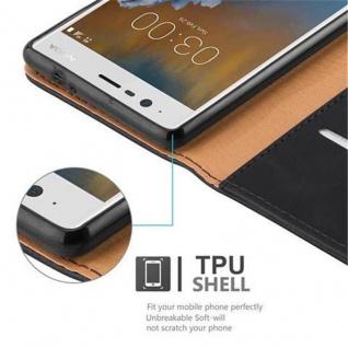 Cadorabo Hülle für Nokia 3 2017 in GRAPHIT SCHWARZ ? Handyhülle mit Magnetverschluss, Standfunktion und Kartenfach ? Case Cover Schutzhülle Etui Tasche Book Klapp Style - Vorschau 4