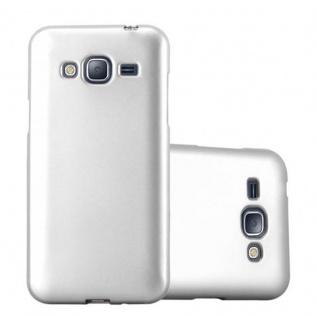 Cadorabo Hülle für Samsung Galaxy J3 / J3 DUOS 2016 in METALLIC SILBER - Handyhülle aus flexiblem TPU Silikon - Silikonhülle Schutzhülle Ultra Slim Soft Back Cover Case Bumper