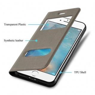 Cadorabo Hülle für Apple iPhone 8 PLUS / iPhone 7 PLUS / iPhone 7S PLUS in STEIN BRAUN ? Handyhülle mit Magnetverschluss, Standfunktion und 2 Sichtfenstern ? Case Cover Schutzhülle Etui Tasche Book Klapp Style - Vorschau 3