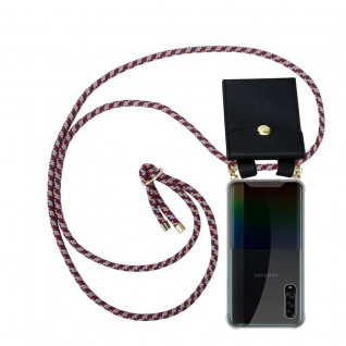 Cadorabo Handy Kette für Samsung Galaxy A90 5G in ROT GELB WEISS Silikon Necklace Umhänge Hülle mit Gold Ringen, Kordel Band Schnur und abnehmbarem Etui Schutzhülle