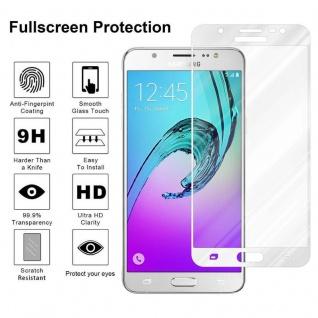 Cadorabo Vollbild Panzer Folie für Samsung Galaxy J5 2016 - Schutzfolie in TRANSPARENT mit WEISS - Gehärtetes (Tempered) Display-Schutzglas in 9H Härte mit 3D Touch Kompatibilität - Vorschau 4