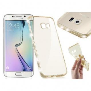 Cadorabo Hülle für Samsung Galaxy S6 EDGE - Hülle in TRANSPARENT GOLD ? Handyhülle aus TPU Silikon im Strass Design - Silikonhülle Schutzhülle Ultra Slim Soft Back Cover Case Bumper
