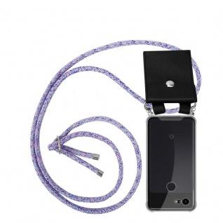 Cadorabo Handy Kette für Google Pixel 3 in UNICORN Silikon Necklace Umhänge Hülle mit Silber Ringen, Kordel Band Schnur und abnehmbarem Etui Schutzhülle