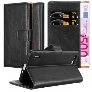Cadorabo Hülle für Honor 6 PLUS in GRAPHIT SCHWARZ ? Handyhülle mit Magnetverschluss, Standfunktion und Kartenfach ? Case Cover Schutzhülle Etui Tasche Book Klapp Style
