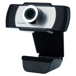 Cadorabo Webcam 1080P in SCHWARZ - Mit Mikrofon USB 2.0 Webkamera mit drehbarem Clip für Videoanrufe, Online Konferenzen, Live Stream, Gaming - Laptop Desktop PC
