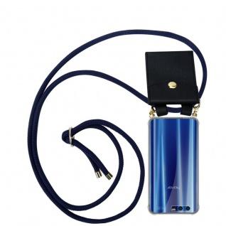 Cadorabo Handy Kette für Honor 9 in TIEF BLAU - Silikon Necklace Umhänge Hülle mit Gold Ringen, Kordel Band Schnur und abnehmbarem Etui ? Schutzhülle