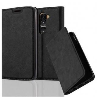 Cadorabo Hülle für LG G2 MINI in NACHT SCHWARZ Handyhülle mit Magnetverschluss, Standfunktion und Kartenfach Case Cover Schutzhülle Etui Tasche Book Klapp Style