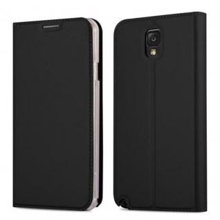 Cadorabo Hülle für Samsung Galaxy NOTE 3 in CLASSY SCHWARZ - Handyhülle mit Magnetverschluss, Standfunktion und Kartenfach - Case Cover Schutzhülle Etui Tasche Book Klapp Style