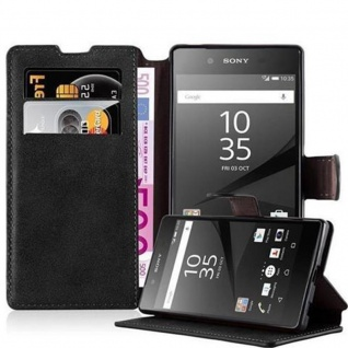 Cadorabo Hülle für Sony Xperia Z5 - Hülle in MATT SCHWARZ ? Handyhülle mit Standfunktion und Kartenfach im Retro Design - Case Cover Schutzhülle Etui Tasche Book Klapp Style