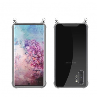 Silikon Hülle Handykette für Samsung Galaxy NOTE 10 PLUS mit silbernen Ringen in DURCHSICHTIG