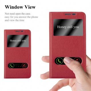 Cadorabo Hülle für Samsung Galaxy NOTE EDGE in SAFRAN ROT - Handyhülle mit Magnetverschluss, Standfunktion und 2 Sichtfenstern - Case Cover Schutzhülle Etui Tasche Book Klapp Style - Vorschau 2