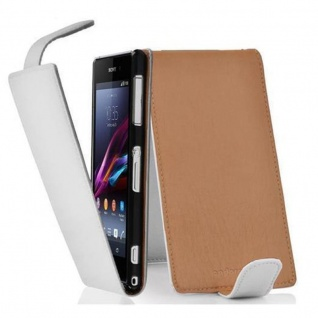 Cadorabo Hülle für Sony Xperia Z1 COMPACT in MAGNESIUM WEIß - Handyhülle im Flip Design aus strukturiertem Kunstleder - Case Cover Schutzhülle Etui Tasche Book Klapp Style