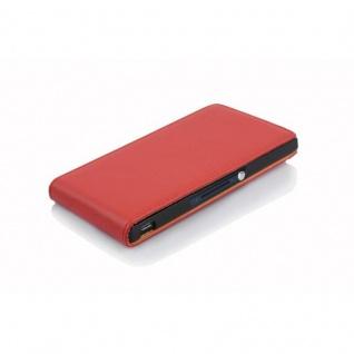 Cadorabo Hülle für Sony Xperia Z in INFERNO ROT - Handyhülle im Flip Design aus strukturiertem Kunstleder - Case Cover Schutzhülle Etui Tasche Book Klapp Style - Vorschau 3