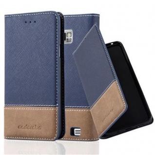 Cadorabo Hülle für Samsung Galaxy S2 / S2 PLUS in DUNKEL BLAU BRAUN - Handyhülle mit Magnetverschluss, Standfunktion und Kartenfach - Case Cover Schutzhülle Etui Tasche Book Klapp Style