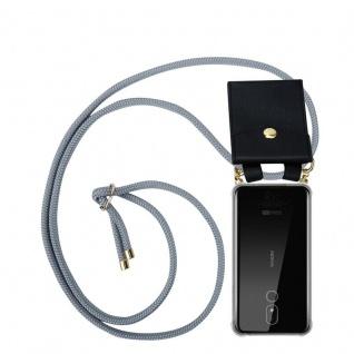 Cadorabo Handy Kette für Nokia 3.2 in SILBER GRAU Silikon Necklace Umhänge Hülle mit Gold Ringen, Kordel Band Schnur und abnehmbarem Etui Schutzhülle