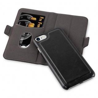Cadorabo Hülle für Apple iPhone 7 / iPhone 7S / iPhone 8 - Hülle in KOHLEN SCHWARZ - Handyhülle im 2-in-1 Design mit Standfunktion und Kartenfach - Hard Case Book Etui Schutzhülle Tasche Cover - Vorschau 2