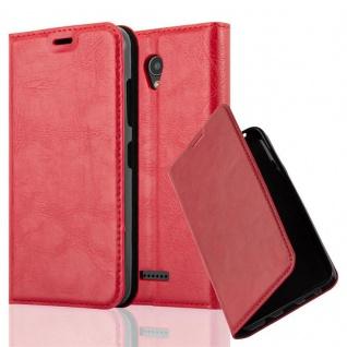 Cadorabo Hülle für Lenovo A PLUS in APFEL ROT - Handyhülle mit Magnetverschluss, Standfunktion und Kartenfach - Case Cover Schutzhülle Etui Tasche Book Klapp Style