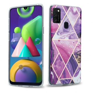 Cadorabo Hülle für Samsung Galaxy M21 / M30s Hülle in Lila Welle Marmor No.14 Handyhülle aus TPU Silikon mit Muster Mosaik Silikonhülle Schutzhülle Ultra Slim Back Cover Case Bumper