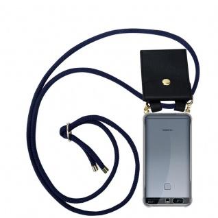 Cadorabo Handy Kette für Huawei P9 PLUS in TIEF BLAU - Silikon Necklace Umhänge Hülle mit Gold Ringen, Kordel Band Schnur und abnehmbarem Etui ? Schutzhülle