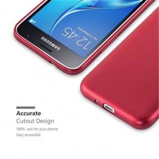 Cadorabo Hülle für Samsung Galaxy J1 2016 in METALLIC ROT - Handyhülle aus flexiblem TPU Silikon - Silikonhülle Schutzhülle Ultra Slim Soft Back Cover Case Bumper - Vorschau 2