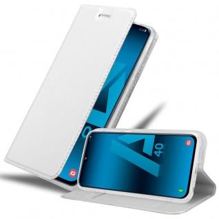 Cadorabo Hülle für Samsung Galaxy A40 in CLASSY SILBER Handyhülle mit Magnetverschluss, Standfunktion und Kartenfach Case Cover Schutzhülle Etui Tasche Book Klapp Style