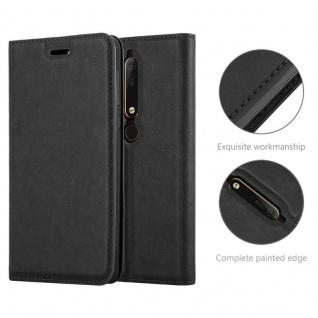 Cadorabo Hülle für Nokia 6.1 2018 in NACHT SCHWARZ - Handyhülle mit Magnetverschluss, Standfunktion und Kartenfach - Case Cover Schutzhülle Etui Tasche Book Klapp Style - Vorschau 2