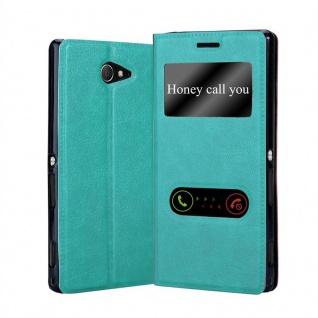 Cadorabo Hülle für Sony Xperia M2 / M2 Aqua in MINT TÜRKIS - Handyhülle mit Magnetverschluss, Standfunktion und 2 Sichtfenstern - Case Cover Schutzhülle Etui Tasche Book Klapp Style