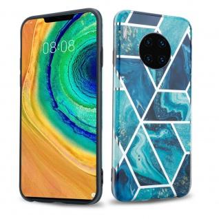 Cadorabo Hülle für Huawei MATE 30 PRO Hülle in Blaue Welle Marmor No.13 Handyhülle aus TPU Silikon mit Muster Mosaik Silikonhülle Schutzhülle Ultra Slim Back Cover Case Bumper