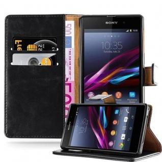 Cadorabo Hülle für Sony Xperia Z1 in GRAPHIT SCHWARZ - Handyhülle mit Magnetverschluss, Standfunktion und Kartenfach - Case Cover Schutzhülle Etui Tasche Book Klapp Style