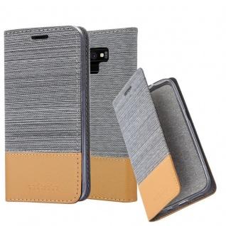 Cadorabo Hülle für Samsung Galaxy NOTE 9 in HELL GRAU BRAUN - Handyhülle mit Magnetverschluss, Standfunktion und Kartenfach - Case Cover Schutzhülle Etui Tasche Book Klapp Style