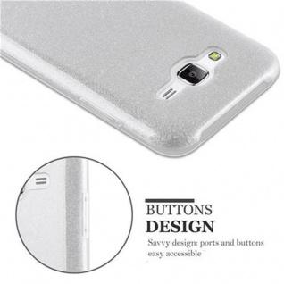 Cadorabo Hülle für Samsung Galaxy J5 2015 - Hülle in STERNENSTAUB SILBER ? TPU Silikon und Hardcase Handyhülle im Glitzer Design - Hard Case TPU Silikon Schutzhülle - Vorschau 4