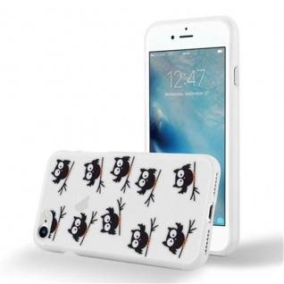 Cadorabo Hülle für Apple iPhone 7 / iPhone 7S / iPhone 8 - Hülle im Design EULE BLACKY ? Handyhülle aus TPU Silikon mit Aufdruck - Silikonhülle Schutzhülle Ultra Slim Soft Back Cover Case Bumper