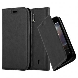 Cadorabo Hülle für Nokia 1 2017 in NACHT SCHWARZ Handyhülle mit Magnetverschluss, Standfunktion und Kartenfach Case Cover Schutzhülle Etui Tasche Book Klapp Style