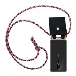 Cadorabo Handy Kette für Nokia 5.1 Plus in ORANGE BLAU WEISS - Silikon Necklace Umhänge Hülle mit Gold Ringen, Kordel Band Schnur und abnehmbarem Etui ? Schutzhülle
