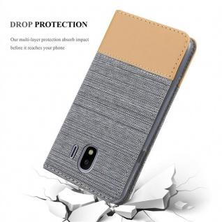 Cadorabo Hülle für Samsung Galaxy J4 2018 in HELL GRAU BRAUN - Handyhülle mit Magnetverschluss, Standfunktion und Kartenfach - Case Cover Schutzhülle Etui Tasche Book Klapp Style - Vorschau 5