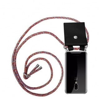 Cadorabo Handy Kette für OnePlus 6T in COLORFUL PARROT - Silikon Necklace Umhänge Hülle mit Silber Ringen, Kordel Band Schnur und abnehmbarem Etui - Schutzhülle