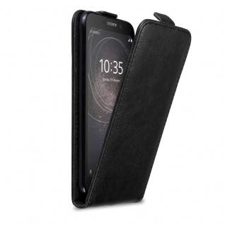 Cadorabo Hülle für Sony Xperia L2 in NACHT SCHWARZ - Handyhülle im Flip Design mit Magnetverschluss - Case Cover Schutzhülle Etui Tasche Book Klapp Style