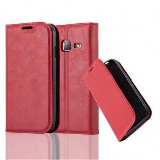 Cadorabo Hülle für Samsung Galaxy J1 MINI 2016 in APFEL ROT - Handyhülle mit Magnetverschluss, Standfunktion und Kartenfach - Case Cover Schutzhülle Etui Tasche Book Klapp Style