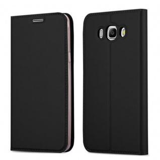 Cadorabo Hülle für Samsung Galaxy J5 2016 in CLASSY SCHWARZ - Handyhülle mit Magnetverschluss, Standfunktion und Kartenfach - Case Cover Schutzhülle Etui Tasche Book Klapp Style
