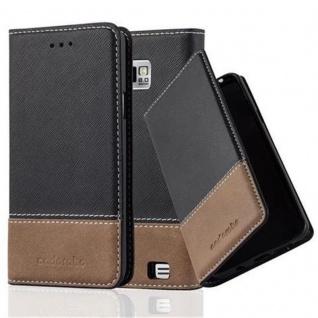 Cadorabo Hülle für Samsung Galaxy S2 / S2 PLUS in SCHWARZ BRAUN ? Handyhülle mit Magnetverschluss, Standfunktion und Kartenfach ? Case Cover Schutzhülle Etui Tasche Book Klapp Style