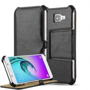 Cadorabo Hülle für Samsung Galaxy A3 2016 (6) - Hülle in PIANO SCHWARZ - Handyhülle OHNE Magnetverschluss mit Standfunktion und Eckhalterung - Hard Case Book Etui Schutzhülle Tasche Cover