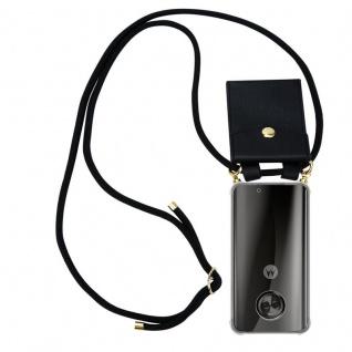 Cadorabo Handy Kette für Motorola MOTO X4 in SCHWARZ - Silikon Necklace Umhänge Hülle mit Gold Ringen, Kordel Band Schnur und abnehmbarem Etui ? Schutzhülle